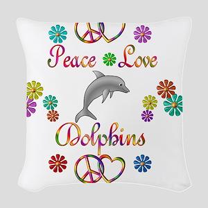 PLFlowersDolphin Woven Throw Pillow