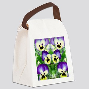Pretty Pansy Faces Canvas Lunch Bag