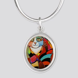 catColorsNew Silver Oval Necklace