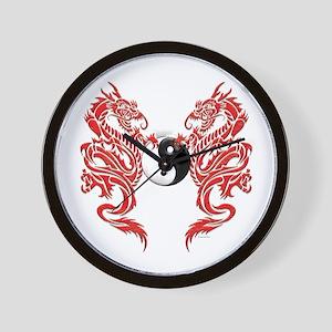 Yin Yang Dragons Wall Clock