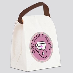 cp oncology nurse round pink Canvas Lunch Bag