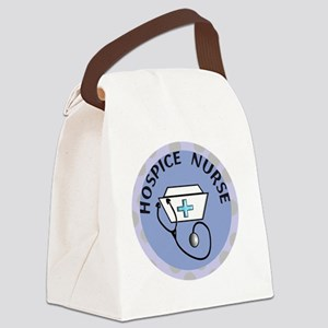 cp hospice nurse round blue Canvas Lunch Bag