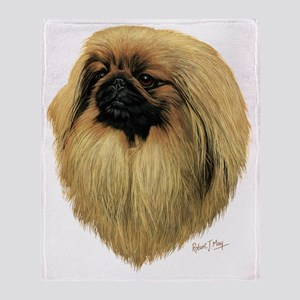 Peke Head dark Throw Blanket