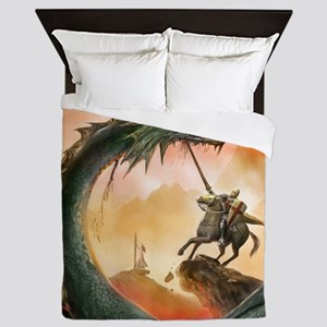 saint george and the dragon Queen Duvet