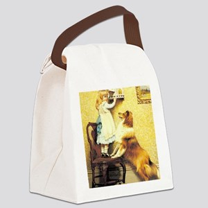 Girl and Dog Canvas Lunch Bag