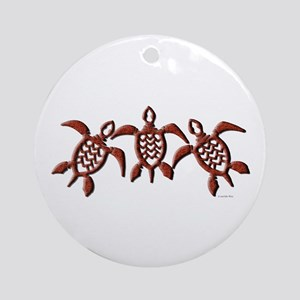 Tribal Sea Turtles Ornament (Round)