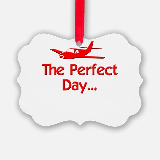 red perfect day airplane flying r Ornament