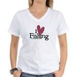 I Love Fishing Women's V-Neck T-Shirt