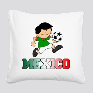 Mexican Soccer Football Square Canvas Pillow