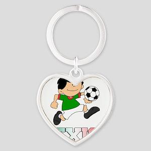 Mexican Soccer Football Heart Keychain