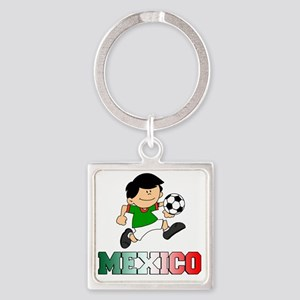 Mexican Soccer Football Square Keychain