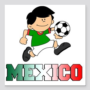 """Mexican Soccer Football Square Car Magnet 3"""" x 3"""""""