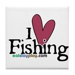 I Love Fishing Tile Coaster