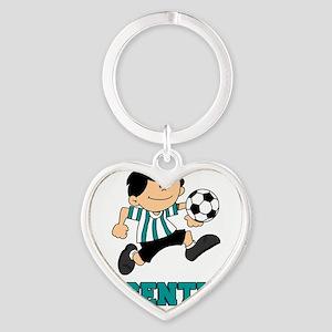Argentine Football Soccer Heart Keychain