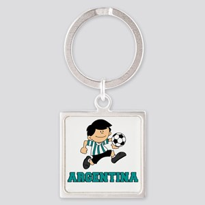 Argentine Football Soccer Square Keychain