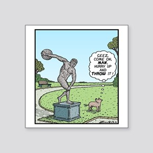 "Dog Discus thrower Square Sticker 3"" x 3"""