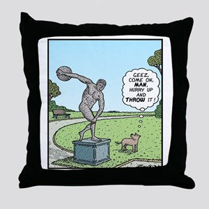 Dog Discus thrower Throw Pillow