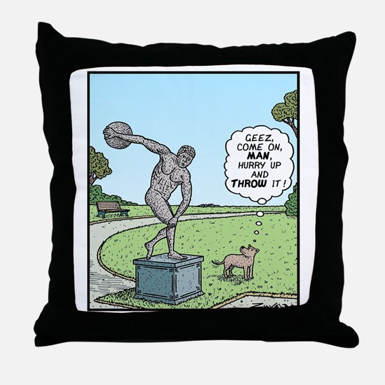 Dog Discus thrower Throw Pillow