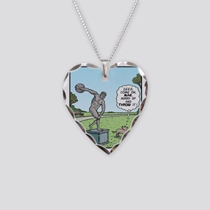 Dog Discus thrower Necklace Heart Charm