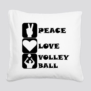Peace Love Volleyball Square Canvas Pillow