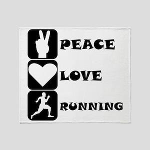 Peace Love Running Throw Blanket