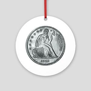 1862coinGif 12x12 Round Ornament