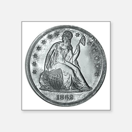 """1862coinGif 12x12.gif Square Sticker 3"""" x 3"""""""