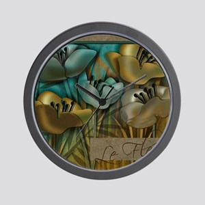 blue abstract floral sc Wall Clock