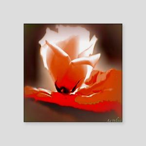 "Orange Rose 15.35 15.35  20 Square Sticker 3"" x 3"""