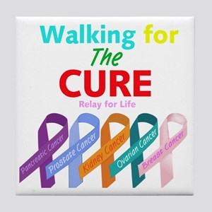 Walking for the CURE (relay for life) Tile Coaster