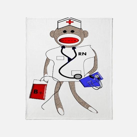 Nurse Sock Monkey Throw Blanket