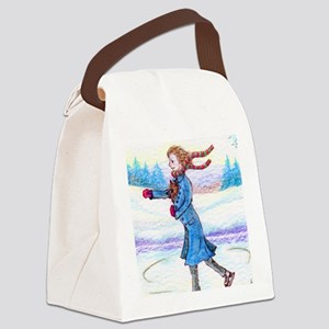 hitching a lift - cairn saturated Canvas Lunch Bag
