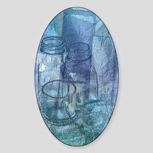 Abstract Blue Art Sticker (Oval)