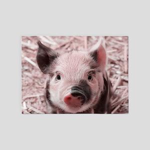 sweet piglet, pink 5'x7'Area Rug