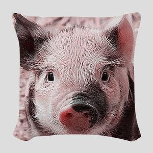 sweet piglet, pink Woven Throw Pillow