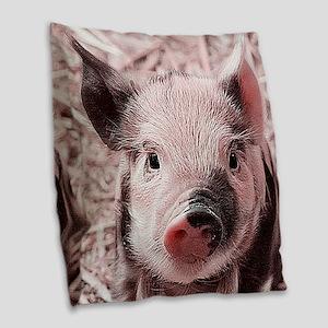 sweet piglet, pink Burlap Throw Pillow