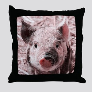 sweet piglet, pink Throw Pillow