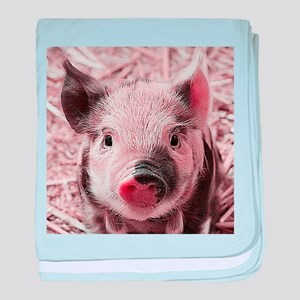 sweet piglet, pink baby blanket