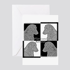 Flat-Coated Retrievers Greeting Cards (Package of
