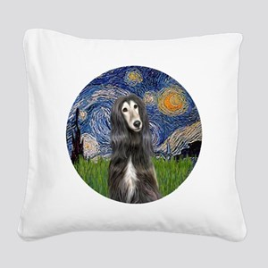 R-Starry-Afghan-blk-cream Square Canvas Pillow