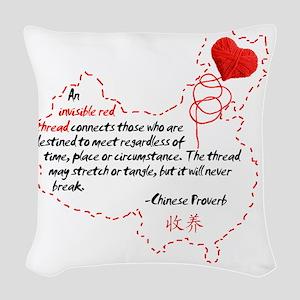 Red Thread on White Woven Throw Pillow