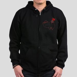 Red Thread on White Zip Hoodie (dark)