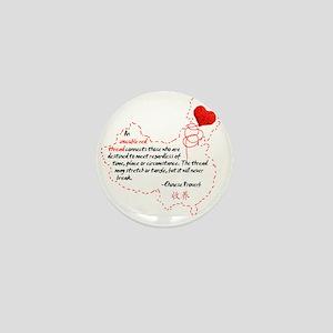 Red Thread on White Mini Button