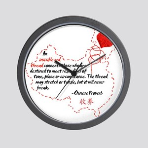 Red Thread on White Wall Clock