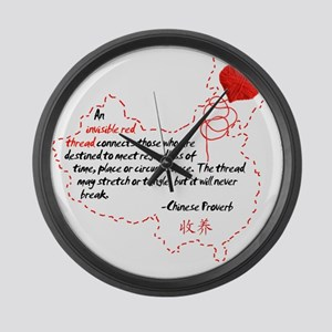 Red Thread on White Large Wall Clock