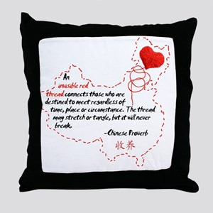Red Thread on White Throw Pillow