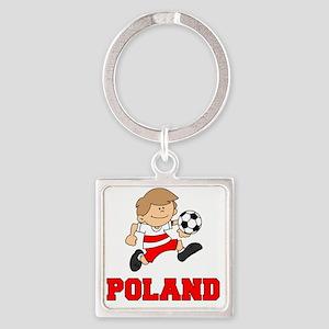 Poland Football (Soccer) Square Keychain