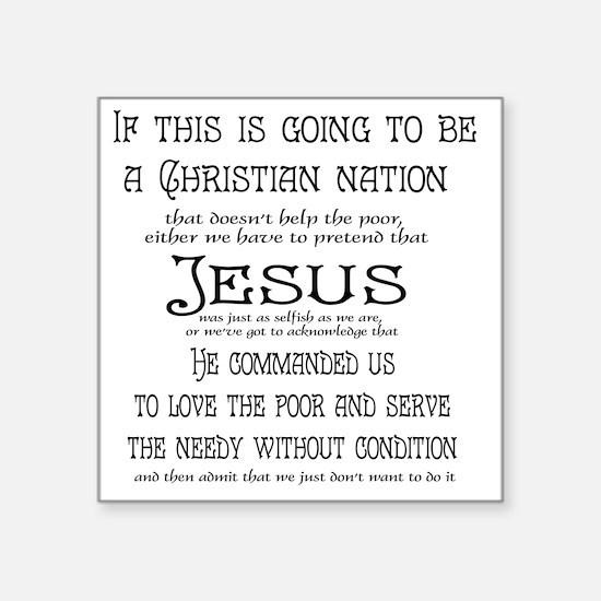 "Christian Nation Square Sticker 3"" x 3"""
