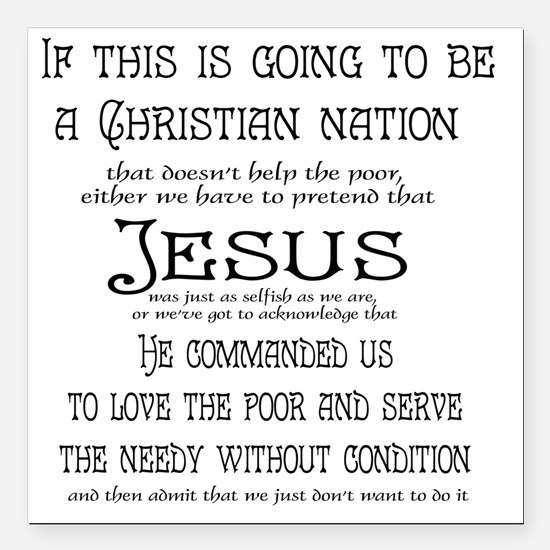 "Christian Nation Square Car Magnet 3"" x 3"""