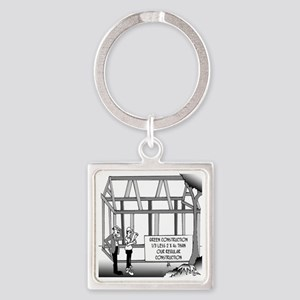 Green Construction Square Keychain